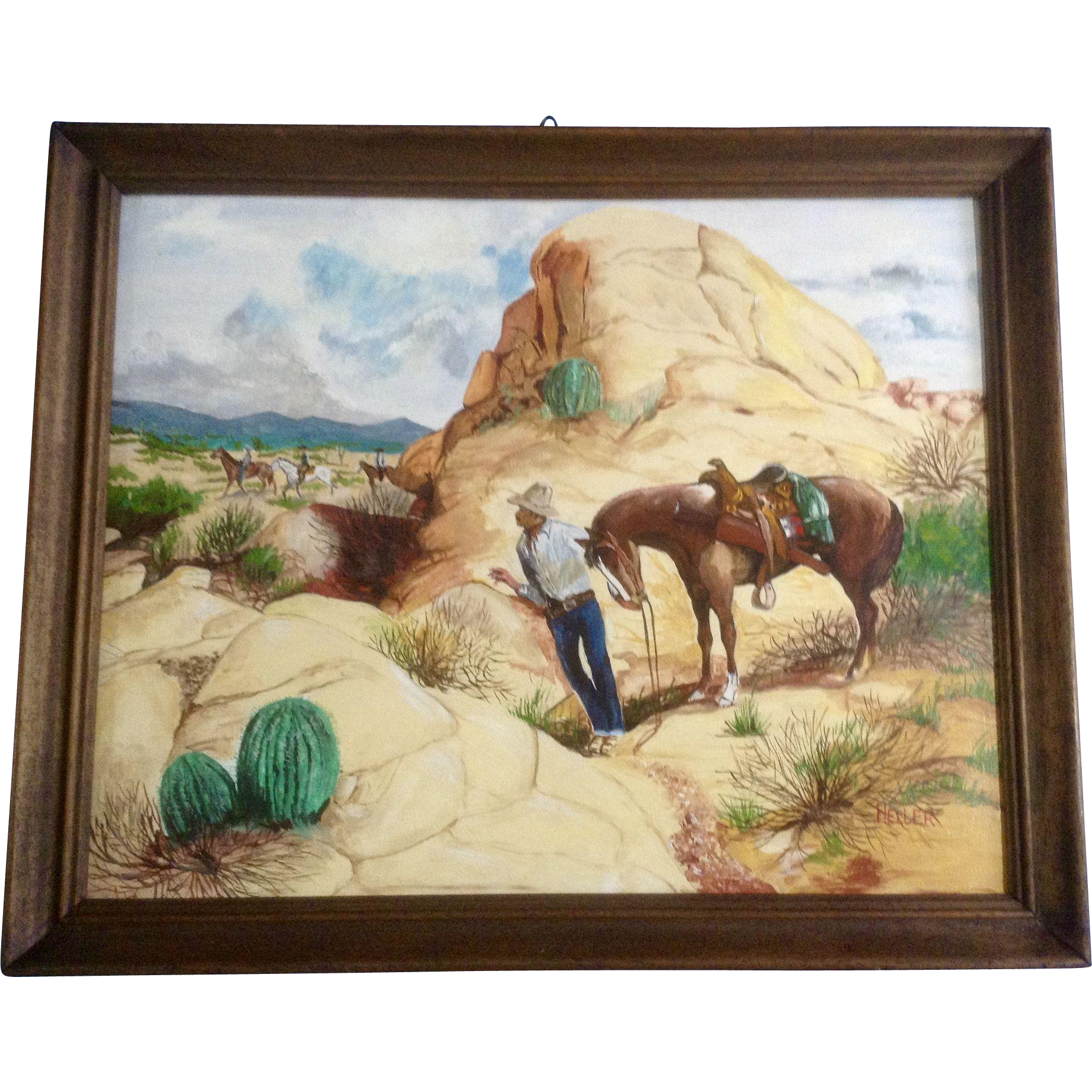 Larry heller oil painting on canvas board bandit hiding for What is canvas board