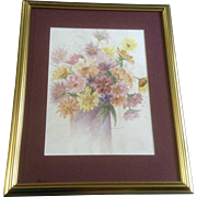 "Colorful Still-life Daisies in a Vase, Watercolor Painting Signed by Artist ""Hermene,"" Works on Paper"