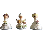 Vintage Napco Flower Girl Birthday (June, November) & Angel Miniature Figurines Napcoware Japan