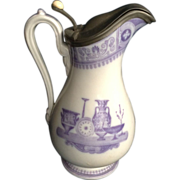 "Mayer & Elliot Pitcher ""Etruscan Vases"" Jug Ironstone Pewter Cover Antique English 19th Century 1858 -1861 England Transferware Printing"