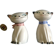 Vintage Cozy Cat Holt Howard Siamese Twin 1958 Ceramic Japan Salt/Pepper Shakers