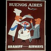 "Original Vintage Braniff Airways Poster Buenos Aires 1950-1960 (20x26"") Unmounted"