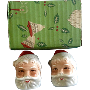 Vintage Brinn's Pittsburgh, Pa. Santa Claus St. Nicholas  Head Salt and Pepper Shakers Christmas Japan