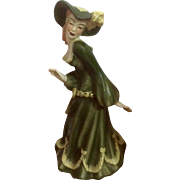 Vintage Ceramic Arts Studio Promenade Lady Green Dress Beauty Mark on Cheek California Pottery Figurine