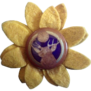 Vintage Elk Lodge B.P.O.E. Felt Sunflower Cover Pin back Button Benevolent and Protective Order of Elks  Saint Louis Button Company