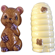 Vintage Bear & Beehive Salt & Pepper Shakers Ceramic 1970's Made in Japan Figurines