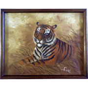 Rex Oil Painting of a Bengal Tiger in the Wild, Painted on Canvas Signed by Artist