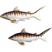 Vintage Tiger Sharks Salt & Pepper Shakers Ceramic 1970's Made in Japan Figurines
