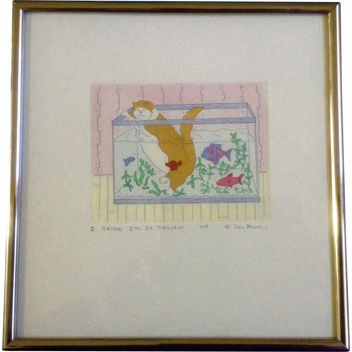 Jan havens etching cat in fish tank i think i m in for Cat proof fish tank