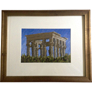 Rodgers Naylor, Trajan's Kiosk Philae Temple, Oil Pastel Painting, Works on Paper Signed by Artist