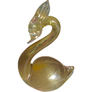 1950's Murano Glass Gold Inclusions Swan Bird Figurine