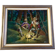 Dan Wuthrich, Oil Painting Don Quixote and his Faithful Sidekick, Painted on Board Signed by Listed Artist