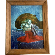 O Berry, Surreal Oil Painting On Board, Weird Surrealist Painter of Mythical Sea Creature and Planets Above the Stars Signed by Artist