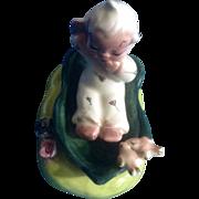 Itsy Bitsy Angel in a Leaf Boat Vintage Japan Porcelain Miniature Figurine