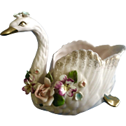 Vintage Norcrest Japan Floral Pastel Pink Swan Serena S11 1950's Beautiful Figurine