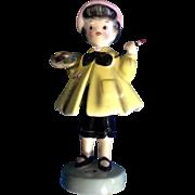 Extremely RARE Py Japan Girl Painter Mid-Century Cutie Pie Face Figurine