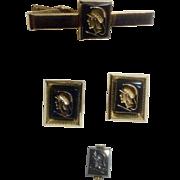 Roman Soldier Cufflinks Tie Clip and Swank Tie Tac Anson Hematite Intaglio Vintage Gold Toned