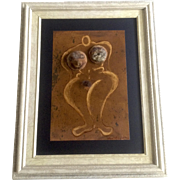 Albert Escalante, Nude Woman Wall Art Sculpture Different Mixed Media Painting Signed by Artist