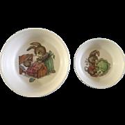 """Oneida Deluxe Peter Rabbit Melamine Melmac Children's Bowls 3243 & 3258 - 6 1/2"""" & 5"""" Vintage Bunny"""