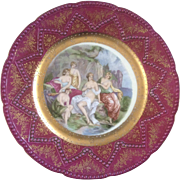 Imperial Nude Lady Bathers Plate Hand Painted Embossed Gold Maker's Mark with a #5 in Crown