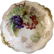 Jean Pouyat (JP) Limoges France, Large Fruit Bowl Hand Painted and Signed 1901 E B Hibbard, Gold Highlights Fine Porcelain