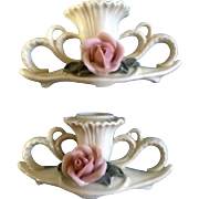 Vintage Rose Candle Holders Ens Porzellan Germany Set of 2
