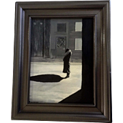 Perissette, Painting, A Woman Standing at Night Casting a Shadow, Signed by Artist Original Oil on Canvas