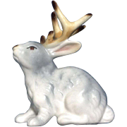 Vintage Jackalope Rabbit Bunny Bone China Miniature Animal Figurine Japan