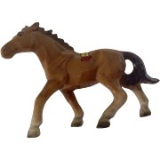 Souvenir of New Orleans, Brown Horse, Bone China, Hand Painted, Japan, Louisiana Mid-Century Figurine