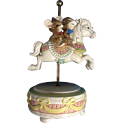 Otagiri Japan Mice Riding a Carousel Horse Music Box Gibson Greetings, Inc. Hand Painted Figurine
