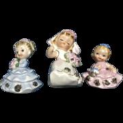 Vintage Norcrest Bride, Bridesmaid & Flower Girl Japan Figurines