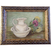 Mums, Chrysanthemums Flowers Bowl and Vase Oil Painting on Canvas Board Signed by Artist Betty