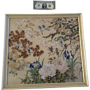 Praten, Silk Ink and Gouache Watercolor Painting, Birds and Flowers Mixed Media, Signed by Japanese Artist