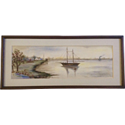 I. Mccorkle & I McDunning Watercolor Painting Ships and Houses on Shore  Signed by Artist