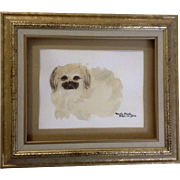 Pekingese Puppy Dog, Portrait of Rosalee Porter's Pasha, Watercolor Painting Works on Paper Signed by Artist, Ruth Funk