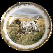 Miniature Limoges France Porcelain Pointer Hunting Dog Enhanced Transfer Plate