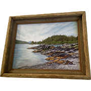 Patricia Munz, Acrylic Painting, Prince William Sound, Alaska, Mossy Rocks Signed by Artist