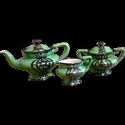 Stunning Lenox Teapot Sterling Silver Overlay Floral Mint Green 1906-1930 Creamer and Sugar bowl Set Vintage