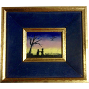 Raphael, Enamel Painting on Copper or Steel, Two People Under Tree With Colored Sunset, Numbered, Signed by Artist