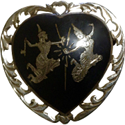 Siam Sterling Silver Heart Thia Dancers Nielloware Brooch c 1930-1949