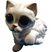 Rare Vintage Lefton Big Sad Eyed White Cat Figurine Planter made in Japan 1960s