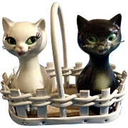 Goebel Salt & Pepper Shakers Cats in a Basket TMK-5 (1972-1979) Retired Figurines