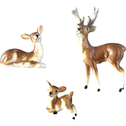 Bone China Miniature Deer Family Japan Animal Figurines Mid-Century