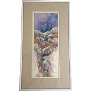 Sue Quinlan, Mixed Media Watercolor Painting, Frozen Waterfall On Snowy Day, Works on Paper Signed by Boulder Colorado Artist