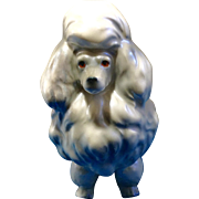 Gorgeous French Poodle White Pearl with light Opalescent Glossy Sheen 1950's Ceramic Dog Figurine