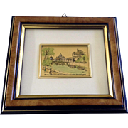 L'Arte Dei Metalli, St. Peter's Basilica and Castle Sant'Angelo, Souvenir of Rome, Italy Watercolor Enhanced Print