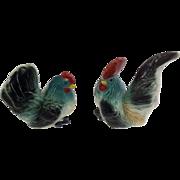 Chicken Salt & Pepper Shakers Made in Japan 1950's Ceramic Rooster & Hen Bird Figurines