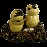 Old Spaghetti String Nest with Baby Yellow Birds 1920-1940 Vintage Ceramic Figurine