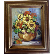 Dwade Williams Engle (1923-2013) Still Life Oil Painting, Flowers in a Vase, Painted on Canvas Signed by Artist