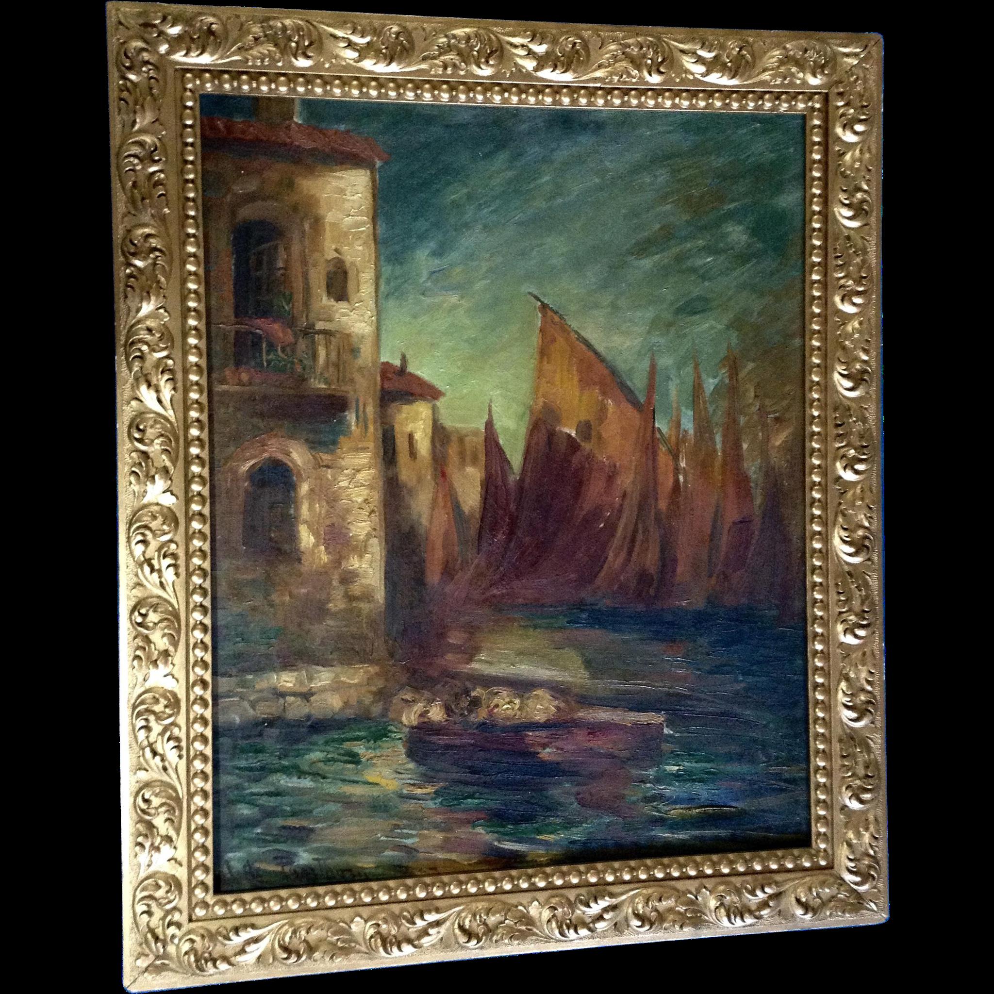 Old Oil Painting On Canvas Venetian Amalfi Coast Sailboats Next To Gumgumfuninthesun